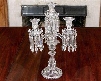 Fine Baccarat Crystal & Moulded Glass Candelabra 3 Arm, 4 Light