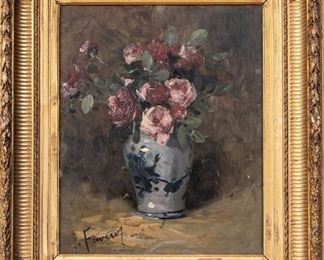 Signed Oil On Board With Floral Still Life