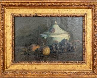 Signed Oil On Canvas With Still Life Dated 1914