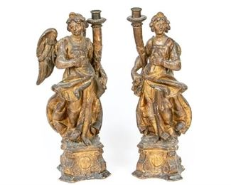 """Pair Of 18th Century Large Carved Angel Candleholders, 23"""" High"""