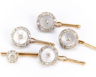 Krementz 14K White And Yellow Gold Diamond & Mother-of-Pearl Studs