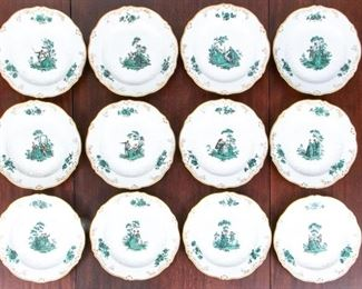 12 Antique Meissen Plates With Marseille Relief And Watteau Painting