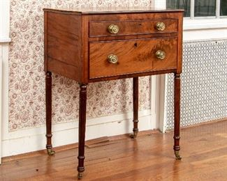American Classical Well Figured Mahogany Side Table Ca. 1810-1820