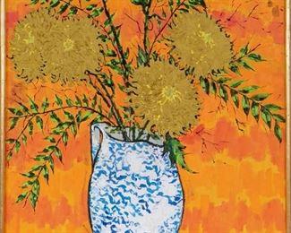 Richard Banks (Am. B. 1929) Floral Still Life Oil On Canvas