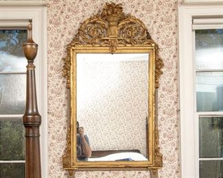 Antique 1st Quarter 19th Century French Neoclassical Gesso & Wood Mirror