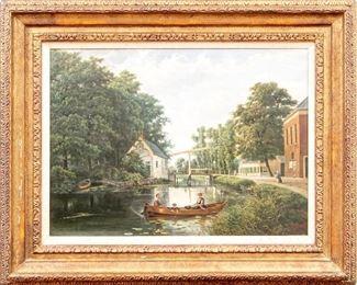 Antique Oil On Canvas Landscape Signed FK