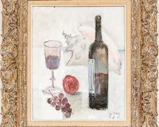 IR Zingg Signed Oil On Canvas Titled La Vigne Et Le Vin Still Life