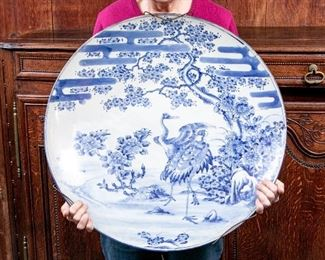 Massive Blue And White Possible Dutch 17th/18th Century Charger Plate