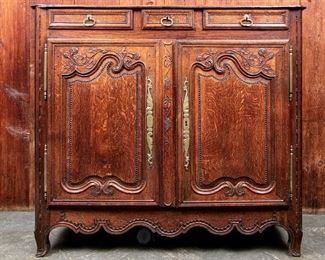 French Carved Oak Cabinet 19th Century