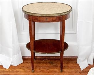 Fine French Bronze Mounted Oval Mahogany Table With Marble Top Ca. 1900