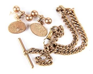 English 9k Gold Lot - Watch Fob And Cuff Links