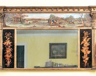Extraordinary Hand-Painted Eglomise Trumeau Mirror