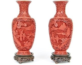 Pair Of Carved Chinese Cinnabar Vases With Pierced Wood Bases