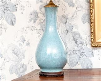 Antique Chinese Porcelain Robin's Egg Blue Vase Mounted As A Lamp