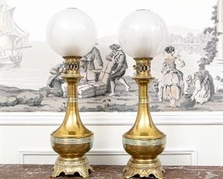 Antique Converted Kerosene Lamps With Opalescent Glass Shades
