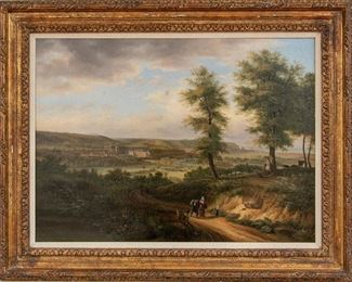 Antique Oil On Canvas With Figural Landscape