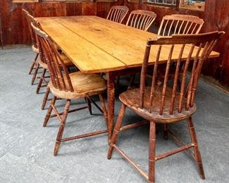 Country Farm Table, Possibly Shaker, With Set Of 7 Spindle Chairs
