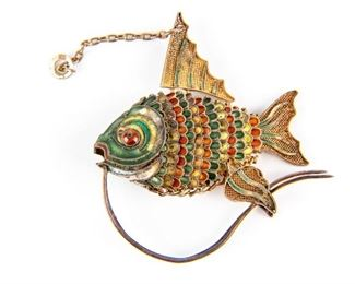 800 Silver & Enamel Fish Articulated Pendant
