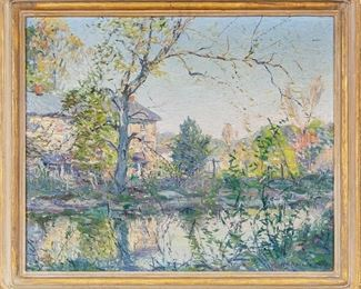 Signed Pallet Oil On Canvas With Landscape