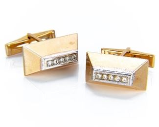 Pair Of 14k Gold Cuff Links With Diamonds