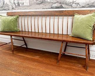 19th Century American Cherry And Pine Windsor Bench - No Pillows