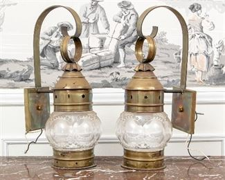 Pair Of Brass Carriage Lanterns With Glass Bowls