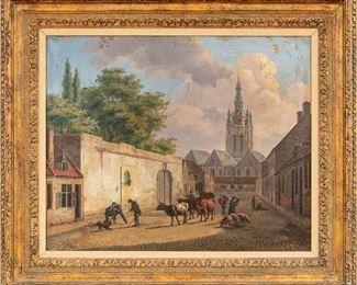 Jean-Baptiste Davelooze (Belgium, 1807-1886) Oil On Canvas Figural Landscape