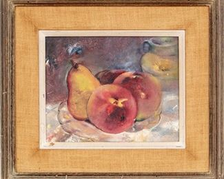 Simone Mounier (French, 19th, 20th Century) Fruit Still Life Oil On Board