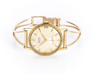 Vintage Gruen Mechanical Watch With 14K Gold Band