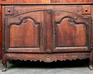18th Century French Carved Oak Cabinet With Key