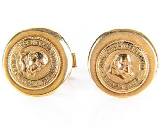 Pair Of 14k Gold Cuff Links From Friars Club