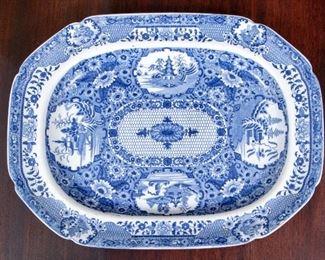 Early 19th Century English Creamware Blue & White Platter