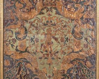 17th/18th Century Hand Painted Embossed Leather Work