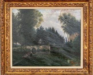 Marie Vincens (French) Oil On Canvas Figural Landscape