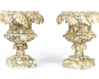 Pair Of Highly Detailed Antique Diminutive Marble Urns