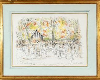 "Signed French Pastel Landscape Titled ""Avril A Paris"" Or ""April In Paris"""