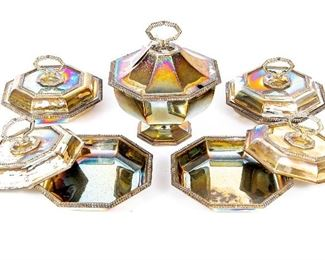Matched Set Of 5 Octagonal Lidded Silver Plate Bowls