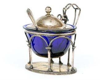 English Later Georgian Sterling Silver Condiment With Blue Liner & Spoon