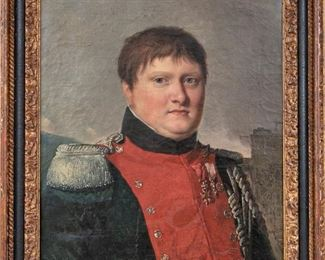 Antique Oil On Canvas Portrait Of A French Soldier
