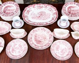A Large Collection Of Red Transfer Ware With Various Makers And Patterns