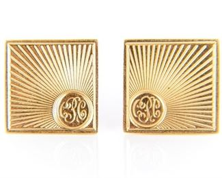 Pair Of 14k Gold Cuff Links With Monogram (Claudius Charles Philippe)