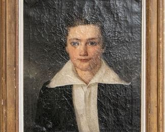 Antique Oil On Canvas Portrait Of A Young Man