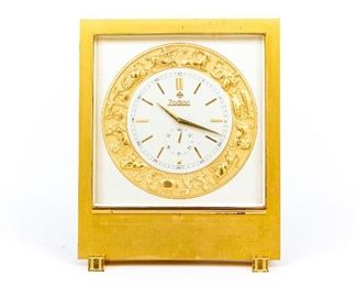 Brass And Glass Zodiac Desk Clock