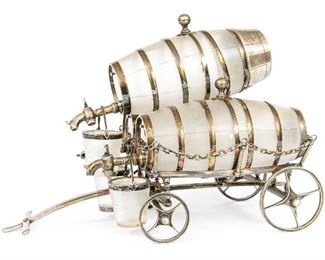 English Silver-Plated And Glass Wagon Form Decanter Or Tantalus Set