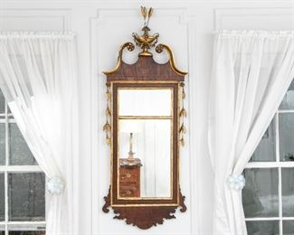 Antique Mahogany Mirror With Urn & Bell Flowers