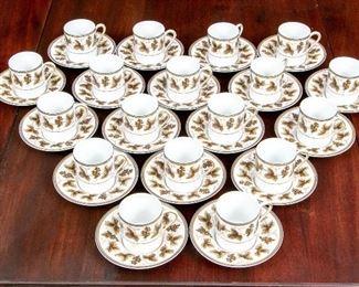Set Of 18 Ceralene Limoges Vineyard Pattern Demitasse Cups & Saucers