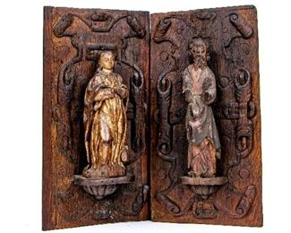 Two Carved Wood Figures Or Santos 18th Century Or Earlier