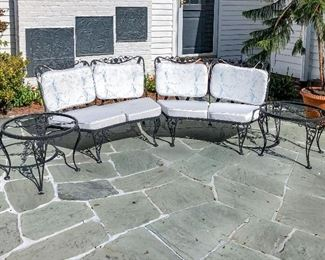 Set Of Two Vintage Wrought Iron Settees And 2 Round Tables