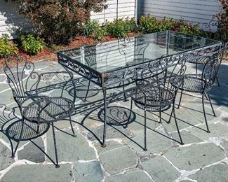 Wrought Iron Glass Top Table With 8 Chairs