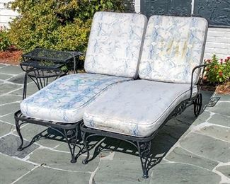Two Wrought Iron Settees, Three Assorted Side Tables